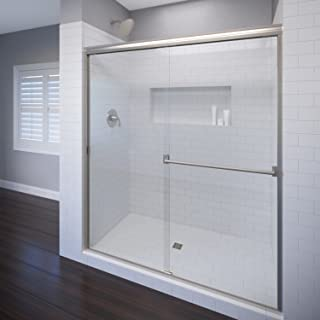 Basco Classic Sliding Shower Door, Fits 44-47 inch opening, Clear Glass, Brushed Nickel Finish