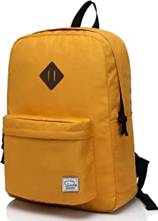 Vaschy Lightweight Backpack for Women, Classic Basic Waterproof Foldable Daypack for Sports and Traveling,School Book Bag for Teens Gold