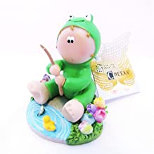Angel Cheeks Frog Fishing Figurine Dated 2011 Russ Berrie Collectible New