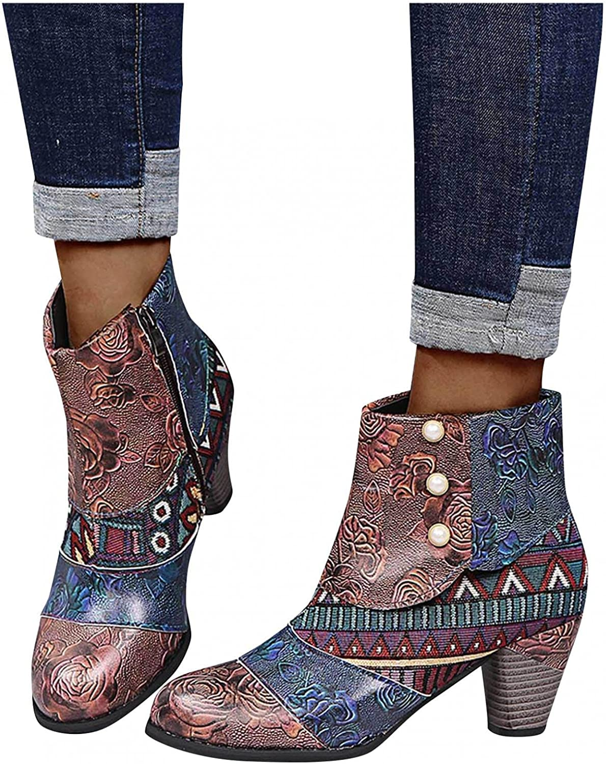 Boots for Women with Heel Vintage Printed Bohemia Ankle Short Booties Platform Boots Winter Casual Shoes Riding Boots
