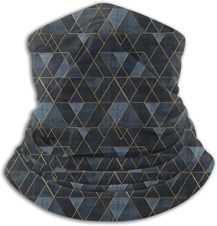 Mod Triangles Gold Indigo M Bandanas Neck Gaiter Face Mask Scarf Face Shield