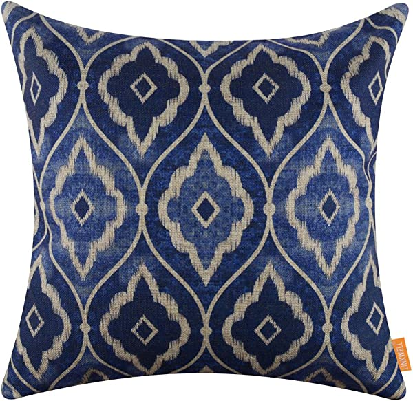 LINKWELL 18x18 Inches Modern Blue And White Ikat Pattern Burlap Throw Pillowcase Cushion Cover CC1293
