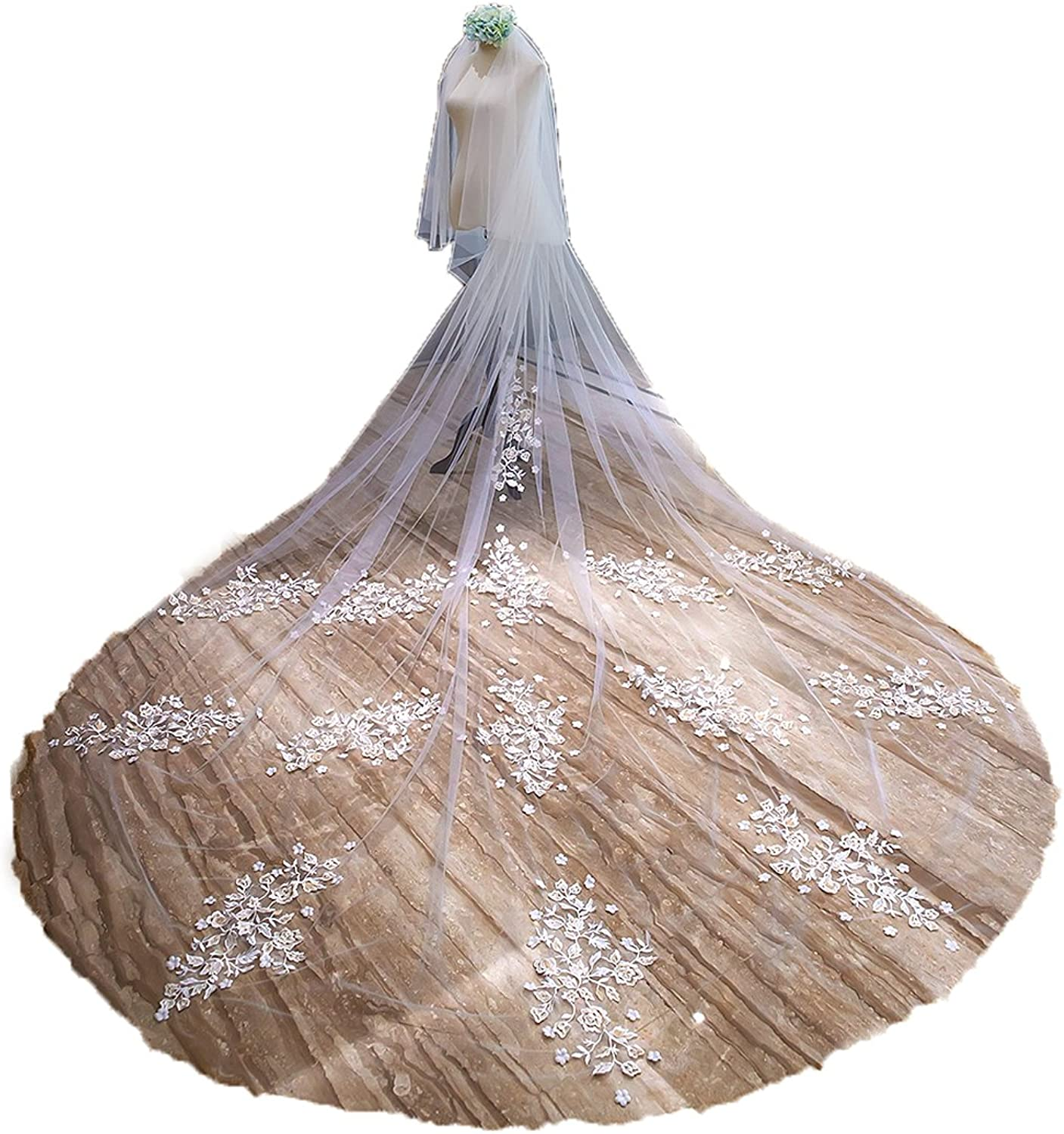 IBEXMAN 3x3.5 Meters Long Champagne Ivory Lace 2 Layers New Bridal Veils