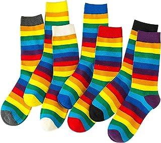 MIWNXM, 10 Pares Korean Style Women Long Socks Rainbow Socks Trend Female Streetwear Socks Fashion Cotton Socks Harajuku Striped Socks Women