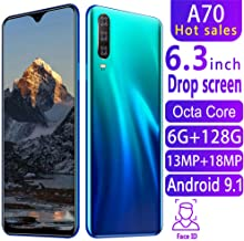Điện thoại di động Android – Shipping from USA, HD Camera 13MP + 18MP Dual SIM Face ID Unlocked Mobile Cell Smart 3G Phone Android RAM6 + ROM128 GB GPS (Blue)