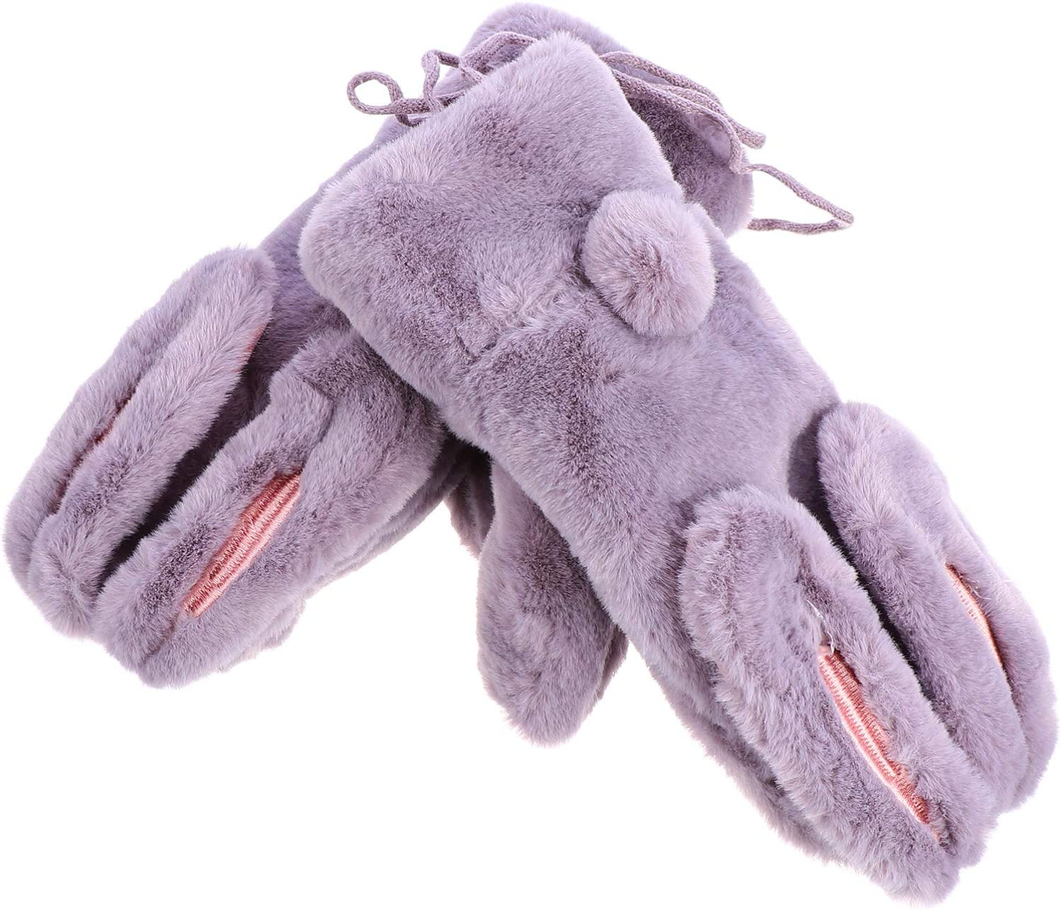 Amosfun Women Winter Warm Gloves Rabbit Ear Plush Mitten Can Be hung on Neck Magnet Full Finge Gloves for Christmas Holiday Cold Weather (Random Color)