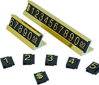 Set of Number Letter with $ Sign Adjustable Countertop Sale Price Display Stand for Retail Shop (Gold)