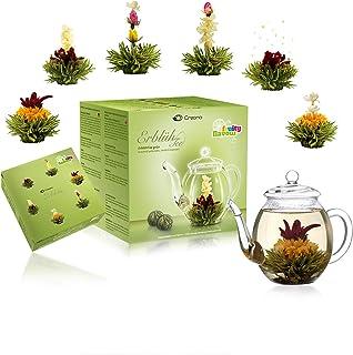 Creano - Set regalo con caraffa in vetro e tè verde aromatizzato alla frutta (6 varietà di fiori da tè), con sfere che si trasformano in fiori, idea regalo per Natale