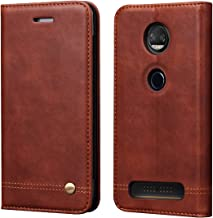 Moto Z2 Force Case, Moto Z Force (2017) Case,RUIHUI Luxury Leather Wallet Folding Flip Protective Case Cover with Card Slots,Kickstand Feature and Magnetic Closure for Motorola Moto Z2 Force (Brown)