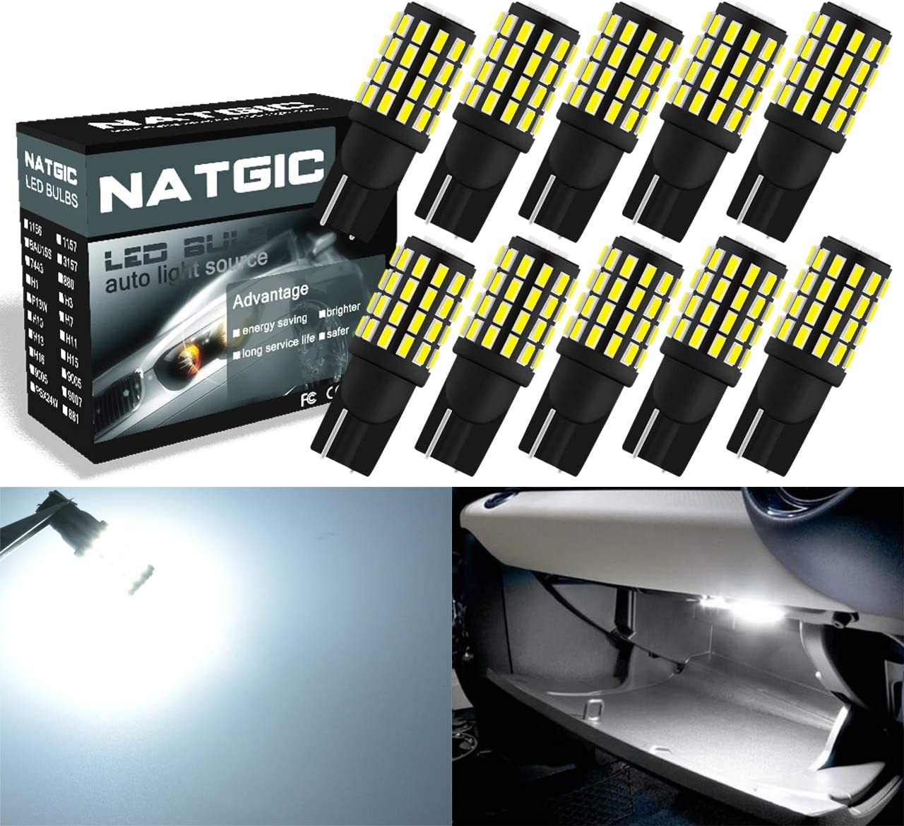 NATGIC 10pcs T10168 175 194 2825 LED San Francisco Mall B High material Replacement Light W5W