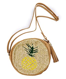 Pomeat Pineapple Straw Bag, Round Tassel Cute Pineapple Shape Beach Shoulder Crossbody Bag for Women