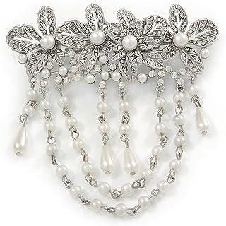 Barrette florale en filigrane avec faux diamants pour cheveux de 70/mm de diam/ètre