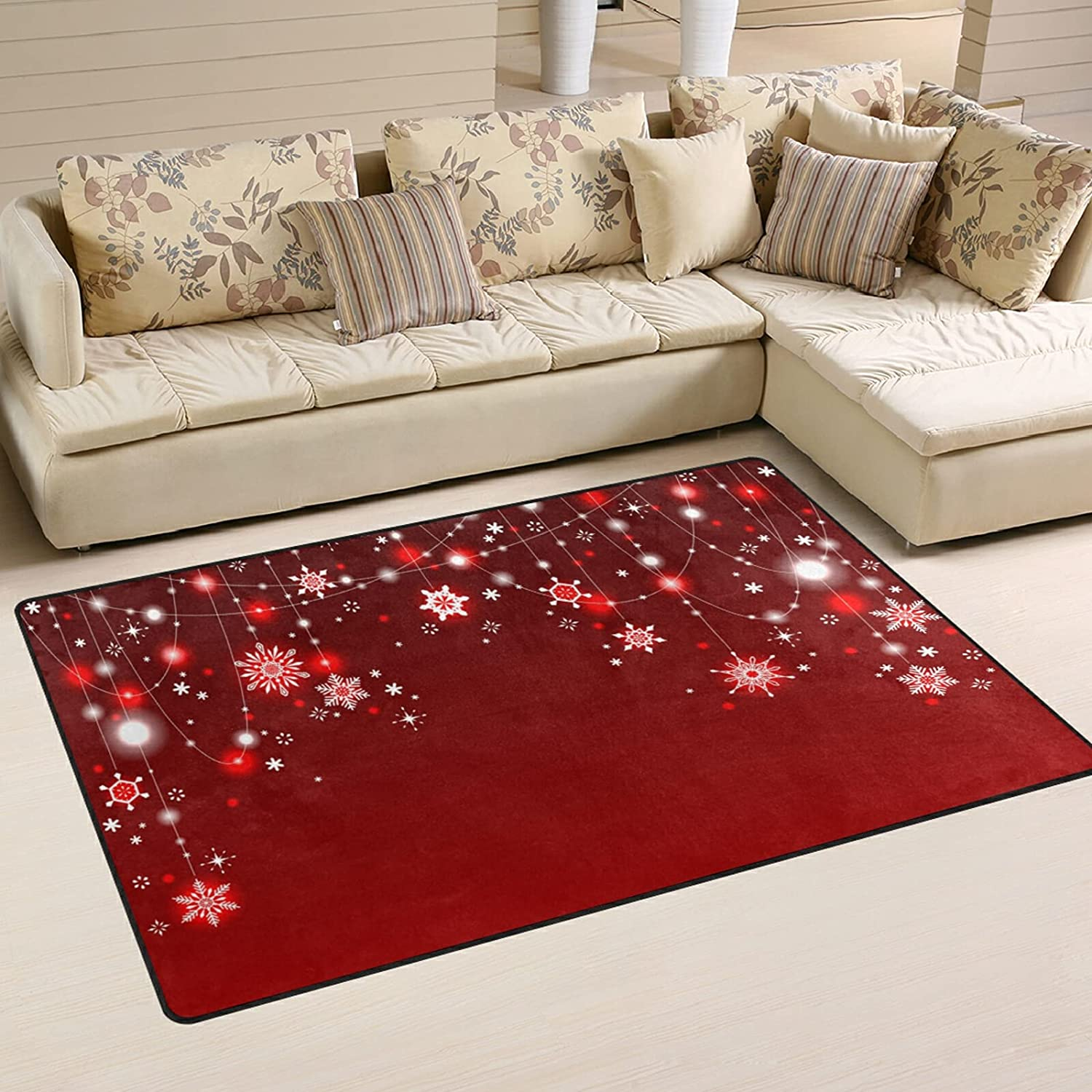 Christmas Max 59% OFF Hanging Snowflake Large Soft Area Ranking TOP8 Playmat Nursery Rugs