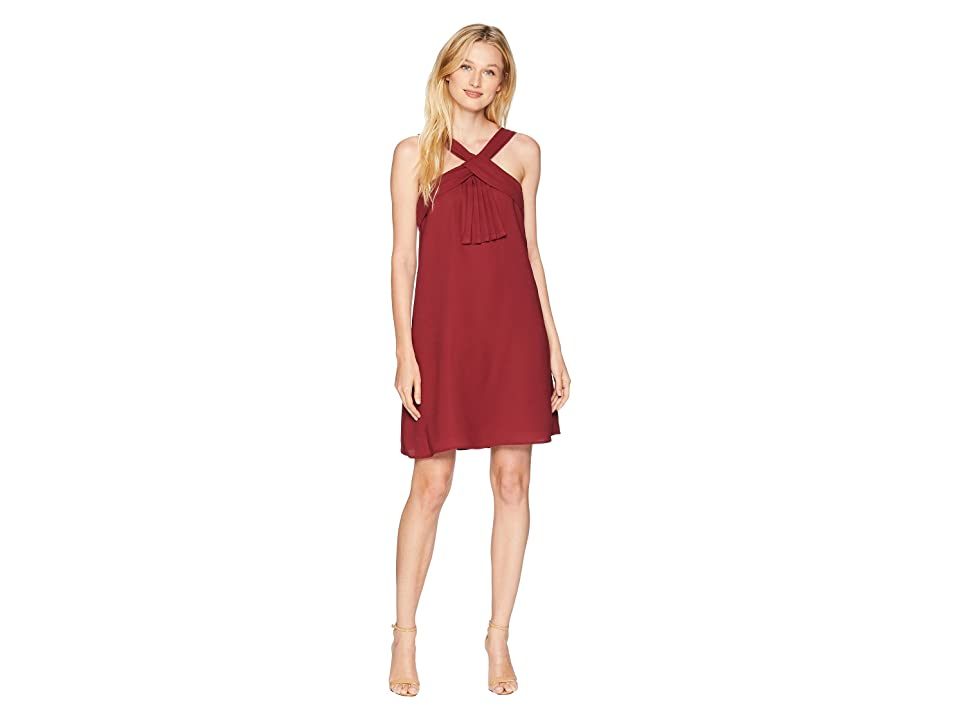 CeCe Brianna V-Neck Pleat Front Dress (Cherry Wine) Women