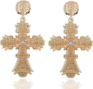 Large Gold Cross Dangle Drop Earrings for Women Girls