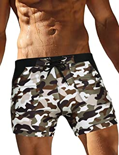 Men's Swimsuit Camo Quick Dry Mens Swimming Shorts Trunks with Pockets