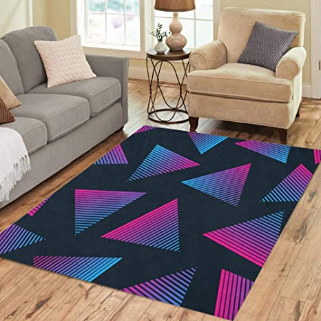 Pinbeam Area Rug Blue Pattern 80s Retro Pink 90s Electro Music Home Decor Floor Rug 3 X 5 Carpet Kitchen Dining