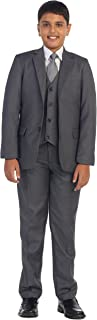 ダビデの子供5?pcチャコールフォーマル男の子スーツ、ベスト、パンツ、ドレスシャツ、ネクタイセットS 2?–?18