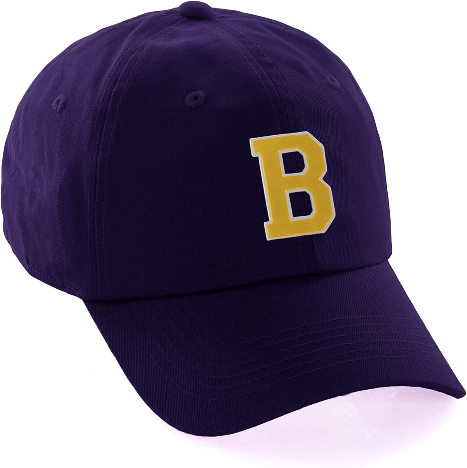 Customized Letter Intial Baseball Hat A to Z Team Colors, Purple Cap White Gold