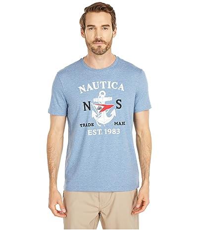 Nautica Anchor Flag Graphic Tee (Blue) Men