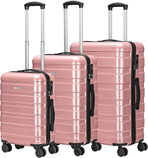 Amasava-Set of Tres Maletas Juego de Maletas Rígidas,Cerradura TSA, ABS+PC,4 Ruedas multidireccional, Oro Rosa
