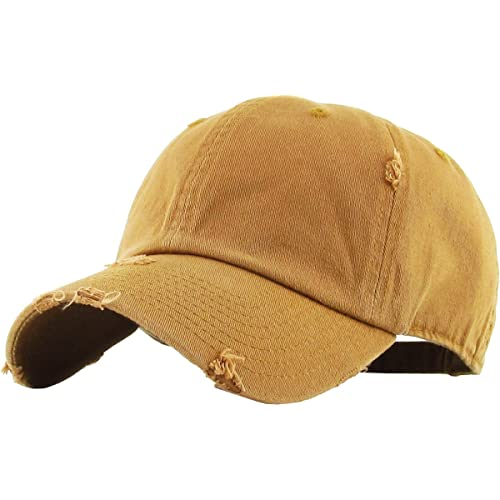 8661e714475 KBETHOS Vintage Washed Distressed Cotton Dad Hat Baseball Cap Adjustable  Polo Trucker Unisex Style Headwear