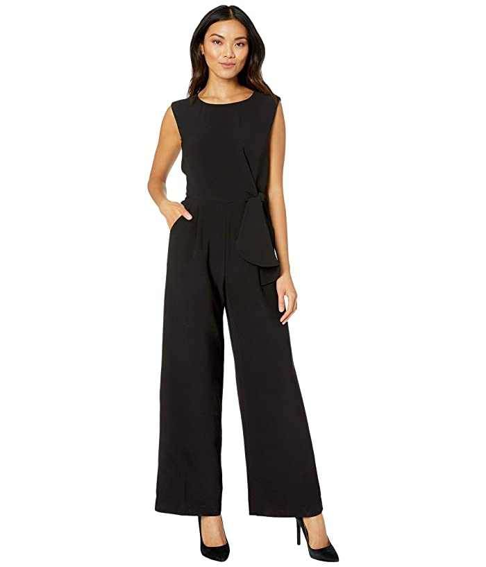 Tahari by ASL  Stretch Crepe Side Tie Jumpsuit (Black) Womens Jumpsuit and Rompers One Piece