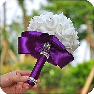 Romantic Wedding Bouquet Bride Bridesmaid Wedding Decoration Foam Flowers Rose Bridal Bouquet White Satin Holding Flowers,Purple