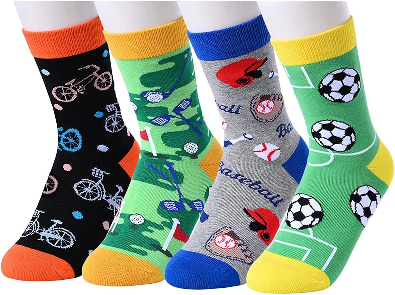 HAPPYPOP Gifts for Teenage Boys Kids Funny Boys Socks 4-10 Years Old Space Sports Animal Gift Box
