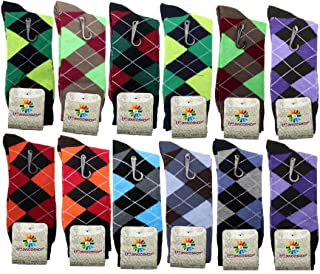 Mens Cotton Argyle Striped Solid Ribbed Black Crew Dress Socks Pack