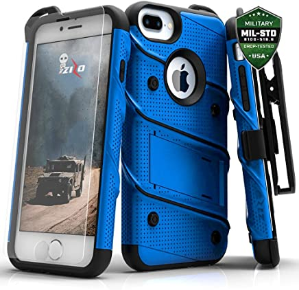 Zizo Bolt Series iPhone 8 Plus /7 Plus/ 6 plus/6s plus Case - Tempered Glass Screen Protector with Holster and 12ft Military Grade Drop Tested (Blue & Black)
