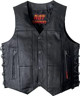 Hot Leathers Men's Ten Pocket Leather Vest (Black, XX-Large)