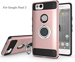 Newseego Compatible with Google Pixel 2 Case with Armor Dual Layer 2 in 1 with Extreme Heavy Duty Protection and Finger Ring Holder Kickstand Fit Magnetic Car Mount for Google Pixel 2-Rose Gold