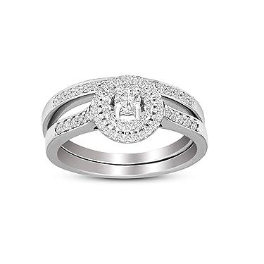 Anillo de diamante cultivado en laboratorio de plata de ley 925 de 1/3-3/8 quilates con diamantes creados en laboratorio para mujeres (1/3-3/8 CTTW, GH – SI1-SI2 joyería de diamantes de calidad para mujeres)