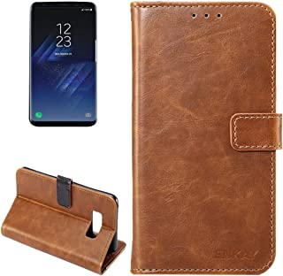 Protective Case Compatible with Samsung Compatible Samsung Galaxy S8 Crazy Horse Texture Horizontal Flip Leather Case with Holder Card Slots Wallet Phone case (Color : Brown)
