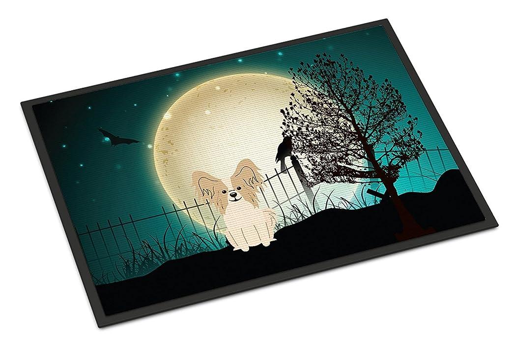 めまいが一緒アピールCaroline's Treasures BB2267JMAT Halloween Scary Papillon Sable White Indoor or Outdoor Mat, 24 x 36', Multicolor [並行輸入品]
