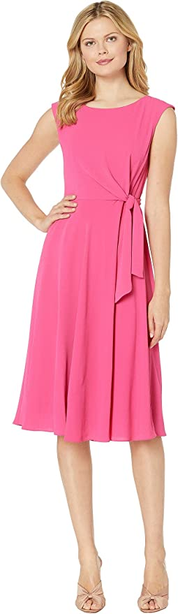 Stretch Crepe Fit & Flare Dress w/ Side Tie