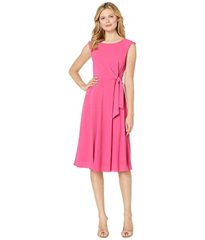 Tahari by ASL Stretch Crepe Fit Flare Dress w/ Side Tie (Fuchsia) Women