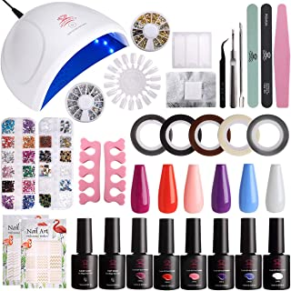Makartt Gel Nail Polish Set with UV Light Gel Polish Kit 24 Lamp 6 Colors Gel Polish Base Top Coat Manicure Tools Nail Art Supplies for Home Use P-16