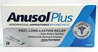 Anusol Plus Hemorrhoidal Suppositories Pain Relief - Pack of 24