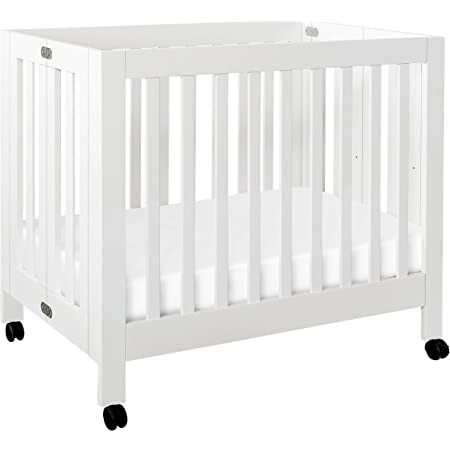 Babyletto Origami Mini Portable Crib with Wheels in White, 2 Adjustable Mattress Positions, Greenguard Gold Certified