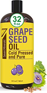 Pure Cold Pressed Grapeseed Oil - Big 32 fl oz Bottle - Non-GMO, Hexane Free, Natural & Lightweight Grape Seed Oil for All...