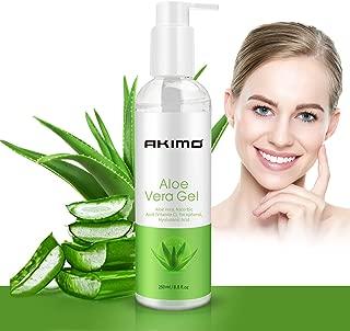Organic Aloe Vera Gel with Hyaluronic Acid, AKIMO Pure Aloe Vera Soothing Gel 100% Natural for Face, Body, Hair, Facial Moisturizer, After Sun Body Moisturisers - Care for Sunburn, 250ml / 8.8 fl oz