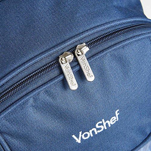 VonShef 4 Person Picnic Backpack – Navy Tartan