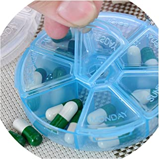2 PCS Portable 7 Day Weekly Round Drug Tablet Pill Box Medicine Splitters Case Storage Organizer Container Case Travel Kit,1 PC White