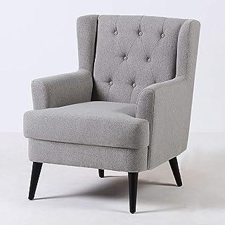 Silla de sofá individual, sillón de salón hecho de algodón, ropa de cama y madera, sillón de tela pequeño en la terraza, silla de dormitorio de estilo americano en la terraza (color: azul claro) JIECH