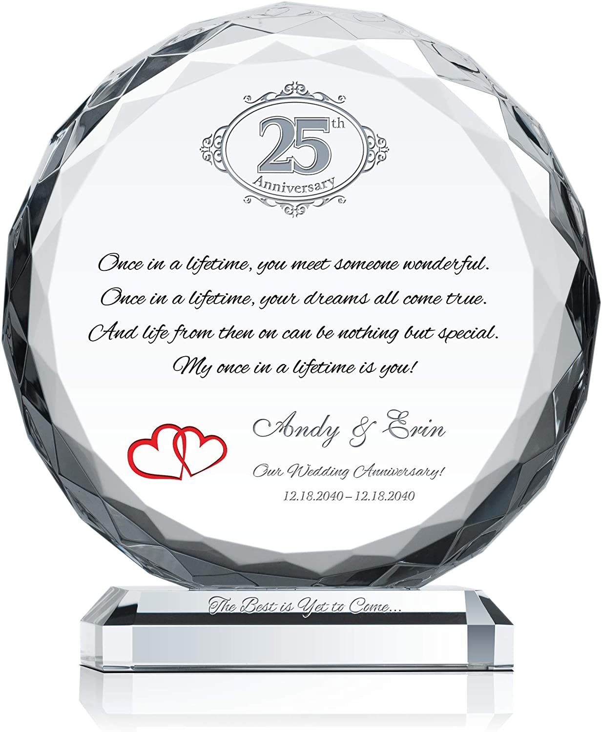 1 year warranty Personalized Crystal Gift for 25th o Max 71% OFF Anniversary Wedding Him