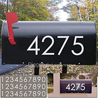 """Diggoo Reflective Mailbox Numbers Sticker Decal Die Cut Classic Style Vinyl Number 3"""" Self Adhesive 3 Sets for Mailbox, Signs, Window, Door, Cars, Trucks, Home, Business, Address Number"""