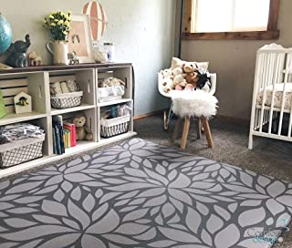 Premium Stylish Foam Floor Mat | Cushy-Soft & Thick | Waterproof, Easy-to-Clean, Hypoallergenic, Non-Toxic, Pet-Friendly, Portable | Baby Play Mat, Yoga Mat, Exercise Mat - Large Grey Botanical Garden