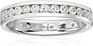 14k White Gold Diamond Channel Eternity Ring (H-I Color, I1-I2 Clarity)